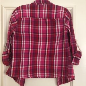 Tops - Pink/white plaid top